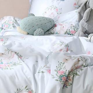 水星家纺 床上四件套纯棉 全棉儿童卡通套件床单被罩被套 可爱森女ins风 可妮兔 加大双人1.8米床