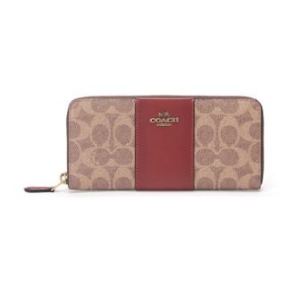 COACH 蔻驰 奢侈品 女士专柜款棕黄色锈色拼色涂层帆布配皮长款钱包钱夹 73739 B4NQ4
