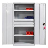 苏美特重型工具柜车间工具整理柜含抽屉灰白色