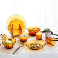 DURALEX 多莱斯 餐具 8件套 钢化玻璃杯碗碟套装 琥珀色