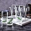Ocean进口玻璃水杯家用茶杯果汁杯370ml白色托盘杯架套装