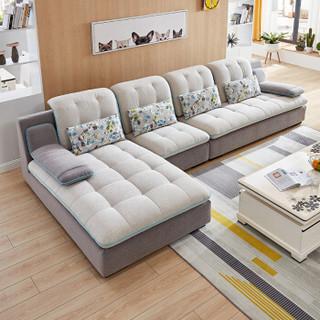 全友家居 布艺沙发现代简约客厅布艺沙发客厅可拆洗布沙发102137 布艺沙发(1+3+转)