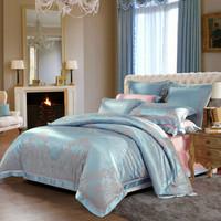 水星家纺(MERCURY) 欧式提花四件套上用品双人被套床单 新帕劳花园 1.8m床