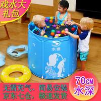 水迪儿童游泳池家庭支架折叠小孩子戏水池宝宝洗澡桶圆形家用保温