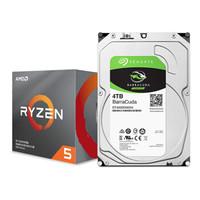 AMD 锐龙 5 3600X处理器 (r5) 7nm CPU+希捷 4TB 256MB 5400RPM 台式机机械硬盘
