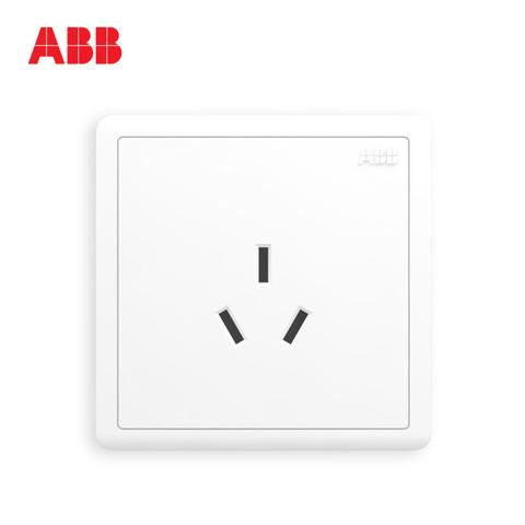 ABB开关插座远致明净白墙壁86型开关面板16A空调三孔AO206 *10件