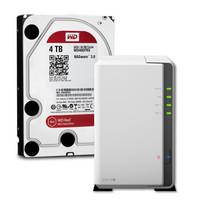 NAS存储解决方案 (WD红盘4TB NAS硬盘 + 群晖 二盘位 NAS网络存储)