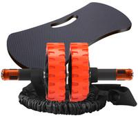 凯速健腹轮金属轴承实芯杆回弹静音腹肌轮收腹滚轮家用健腹器(带拉绳、跪垫)橙色PR501