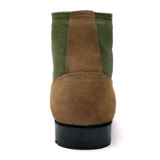 强人 经典大头皮鞋 际华3515羊毛保暖男鞋橡胶底耐磨耐穿劳保防寒棉短靴 黄色 43码