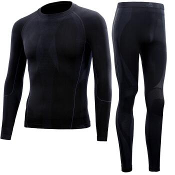 伯希和Pelliot户外运动保暖功能排汗内衣男女套装1855 男黑色XL