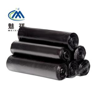 魅祥  大号加厚黑色垃圾袋 点断式酒店物业环卫塑料袋 平口垃圾袋 70*90黑色30个(50-60L)