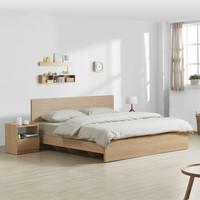 掌上明珠家居 北欧现代卧室 1.8米双人床+床头柜×2+床垫 组合家具套装 ESA116-A262