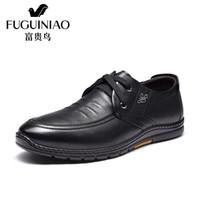 富贵鸟(FUGUINIAO)男士时尚休闲鞋头层牛皮系带时尚舒适S993715 黑色 42
