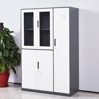 麦森(maisen)文件柜 办公钢制铁皮资料档案储物薄边平开更衣柜 深灰套白色 加厚款 MS-TPG-125