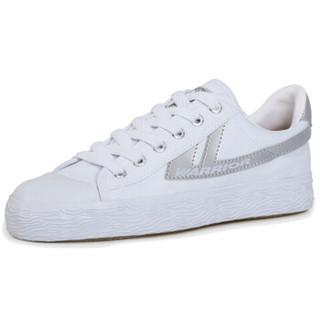 回力休闲情侣男女款潮款篮球运动帆布鞋wb-1 灰白 35