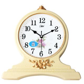 康巴丝(Compas)座钟古典欧式座钟表复古静音客厅装饰台钟创意卧室床头时钟石英钟C3099 黄裂纹