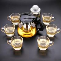 金熊 1100ML耐热加厚玻璃茶壶茶具飘逸壶八件套装(一壶六杯一茶叶罐) T922