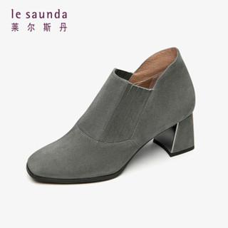 莱尔斯丹 时尚优雅通勤方头套脚粗高跟女短筒靴LS AT60903 灰色GYS 36