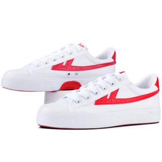 回力休闲情侣男女款潮款篮球运动帆布鞋wb-1 白红 40