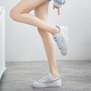 回力 Warrior 帆布男女情侣款休闲复古经典运动鞋 WB-1 金奖白灰 34(偏大一码)