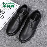 木林森(MULINSEN)男鞋商務休閑鞋男士系帶時尚舒適日常辦公皮鞋 黑色 42碼 N02 *2件