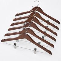 家逸 衣服架实木衣撑 木质衣架无痕防滑衣挂晾衣架六支装