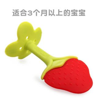 美国MDB婴儿牙胶硅胶磨牙棒玩具 宝宝安抚咬咬胶(草莓)
