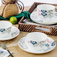 SKYTOP斯凯绨 餐具套装碗盘碟陶瓷骨瓷日式创意时尚8头伊莲娜
