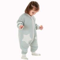 PLUS会员:Wellber 威尔贝鲁 婴儿分腿式睡袋 可脱半袖 灰绿格 85cm