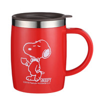 史努比 保温杯 不锈钢隔热喝水杯子男女士情侣办公室咖啡杯马克杯学生大容量饮水杯 420ML KF5009红色