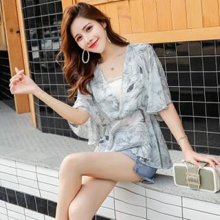 维迩旎 2019夏季新款女装新品时尚花色雪纺衫女显瘦女装收腰百搭洋气小衫 HZ2010-7025 灰色 XL