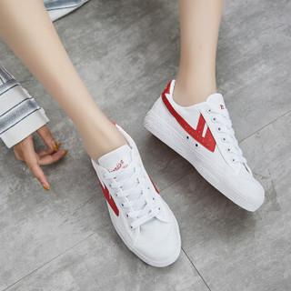 回力 Warrior 帆布男女情侣款休闲复古经典运动鞋 WB-1 白红 42(偏大一码)