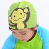 hugmii儿童泳帽硅胶泳帽男童女童宝宝防水游泳帽 绿色猴子