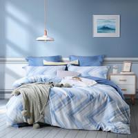 水星家纺 床上四件套纯棉 全棉床品套件床单被罩被套 床上用品 雷克杰尔 双人1.5米床