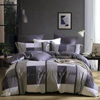 水星家纺 床上四件套纯棉 全棉印花床单被套床上用品套件简约条格 莫格1.2米床