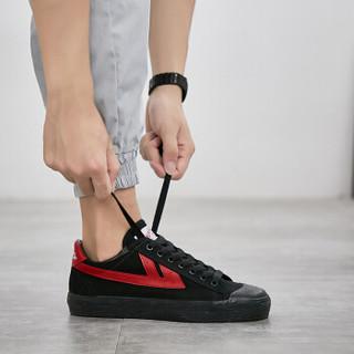 回力 Warrior 帆布男女情侣款休闲复古经典运动鞋 WB-1 金奖黑红 43(偏大一码)
