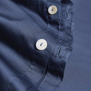 时光居品(turqua)四件套 全棉60支贡缎纯色床品套件 长绒棉纯棉简约素色家纺被套床单 帝王蓝1.8米床220*240
