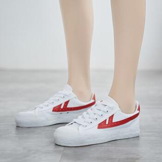 回力 Warrior 帆布男女情侣款休闲复古经典运动鞋 WB-1 白红 40(偏大一码)