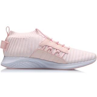 李宁 LI-NING 2019新品女子一体织减震回弹潮流休闲鞋AGLP072-1 盐粉色/标准白 36