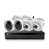 海康威视萤石 200万无线监控设备套装X5C 8路4T硬盘 4台1080P无线枪机监控摄像头 家用商铺工程