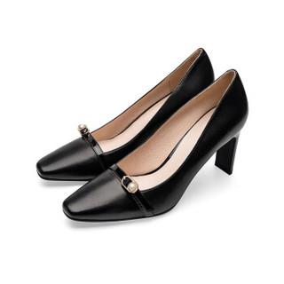 莱尔斯丹 le saunda 时尚豹纹珍珠饰物方头套脚高跟女单鞋 LS 9T80102 黑色 37