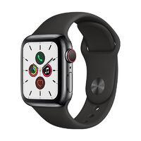 Apple 苹果 Watch Series 5 GPS+蜂窝款 智能手表 40mm 黑色不锈钢表壳 黑色运动型表带 (GPS)