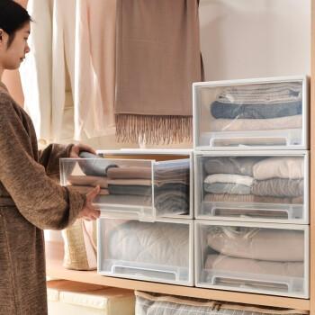 百露衣橱收纳柜抽屉式塑料收纳盒储物柜衣物整理收纳箱 大号加厚款 *5件