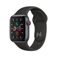 Apple 苹果 Watch Series 5 GPS+蜂窝款 智能手表 40mm 深空灰色铝金属表壳 黑色运动型表带 (GPS)