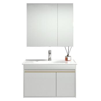 JOMOO 九牧 轻奢系列 A2255 简欧浴室柜组合 (白色经典款、80cm、多层实木主柜、浴室边柜、挂墙式、一体陶瓷盆)