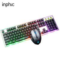 英菲克(INPHIC)V680S 有线键盘鼠标套装 游戏键盘鼠标套装 真机械手感键盘 键鼠套装 吃鸡 背光 黑色 自营