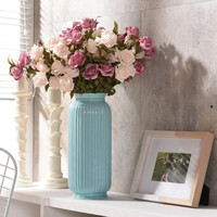 Hoatai Ceramic 华达泰陶瓷 陶瓷花瓶摆件 蓝色花瓶配欧粉玫瑰花