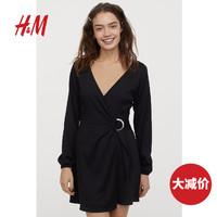 HM DIVIDED女装裙子女衣服2020新款皱感裹身连衣裙 0860204