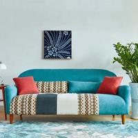 TIMI 天米 布艺沙发组合 湖蓝色 双人沙发