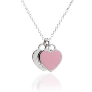 Tiffany&Co. 蒂芙尼 28751249 粉色珐琅 925银双心项链